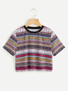 Tribal Print Crop Tee