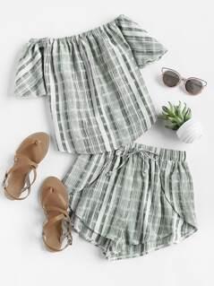 Linen Look Bardot Top And Drawstring Overlap Shorts Set