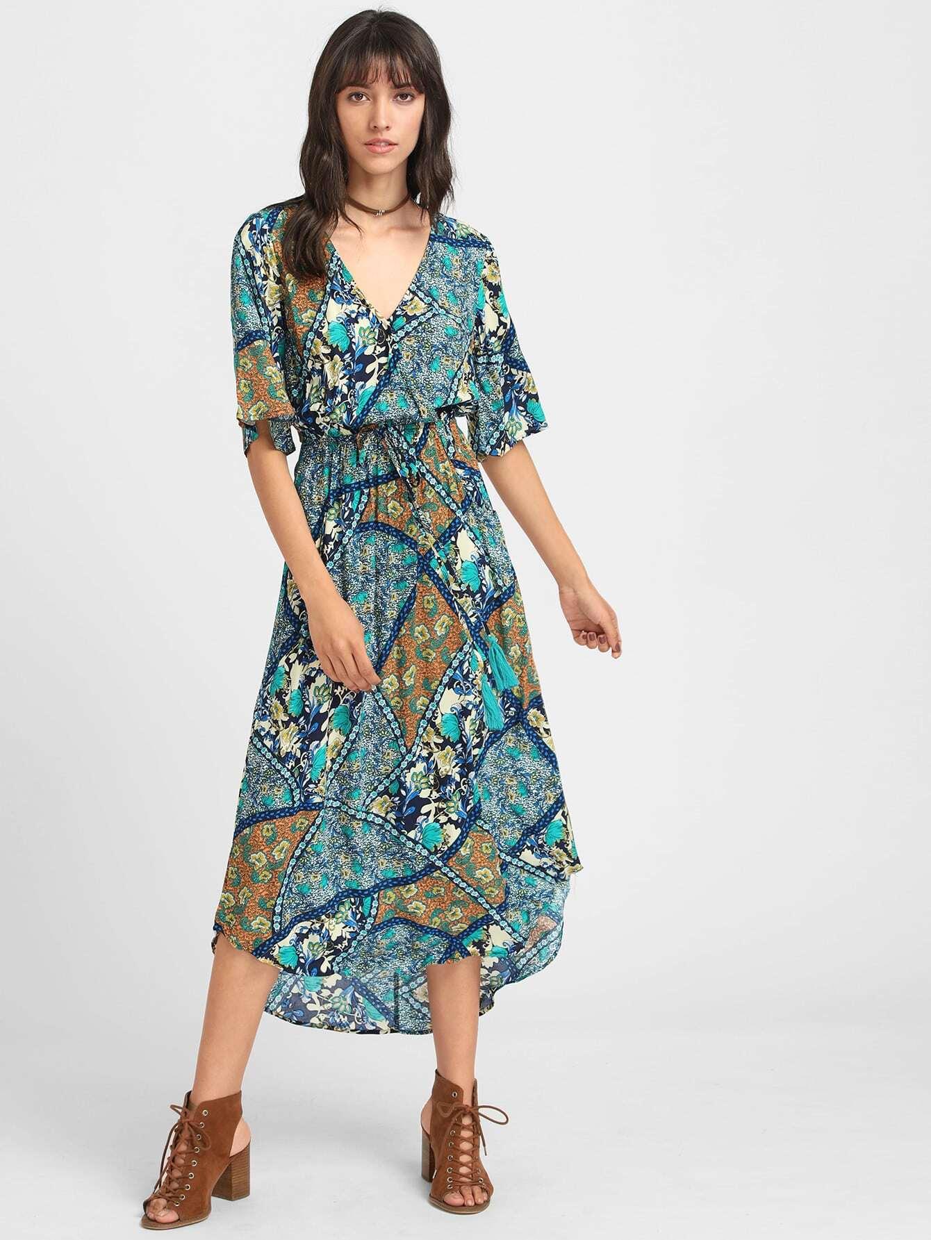 Фото Geo Print Surplice Front Split Back Curved Dress. Купить с доставкой
