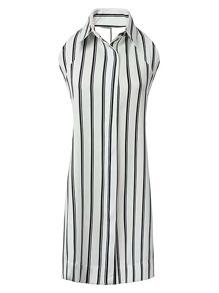 Vestido de rayas verticales con detalle de lazo sin espalda
