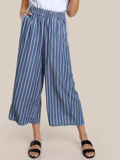 Striped Flowy Pants MEDIUM BLUE
