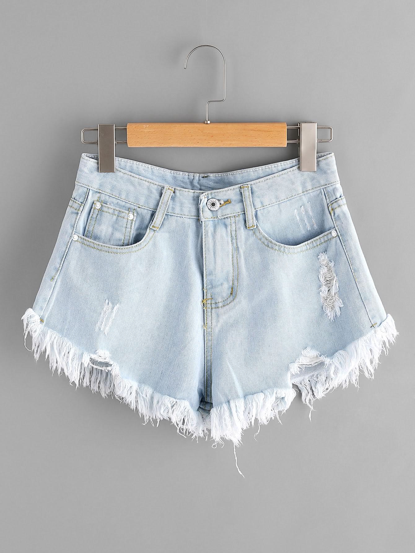 Bleach Wash Ripped Frayed Hem Denim Shorts