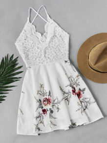 Floral Print Lace Panel Criss Cross Back Dress