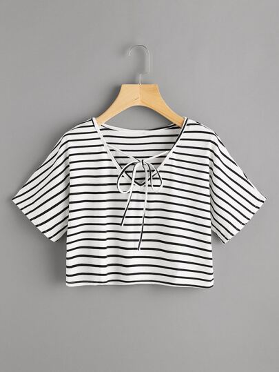 V Neckline Self Tie Stripe Tee