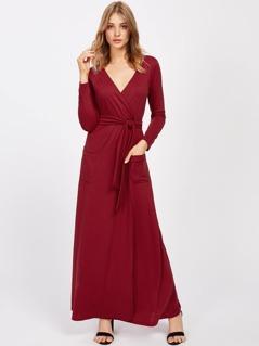 Surplice V Neckline Maxi Dress With Self Tie