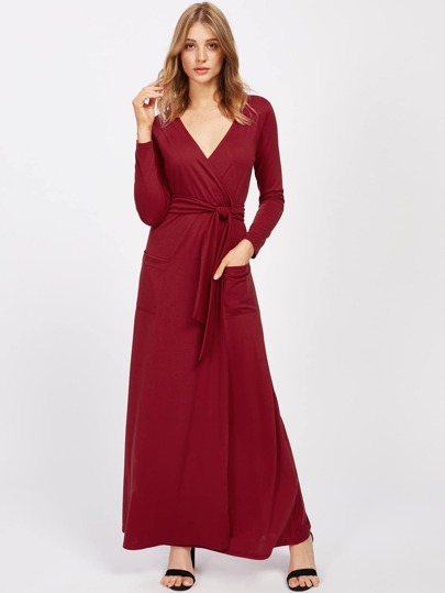 Surplice V Neckline Maxi Dress With Self Tie