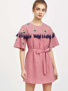 Tassel Trim Sunflower Embroidered Self Tie Gingham Dress