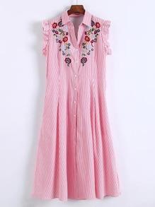 Cap Sleeve Frill Trim Embroidery Shirt Dress