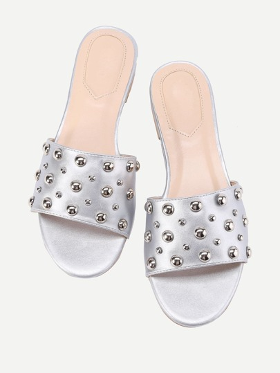 Beaded Detail Flat Sandals
