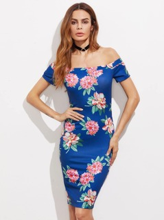 Flower Print Bardot Neck Pencil Dress