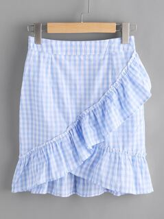 Ruffle Trim Checkered Skirt