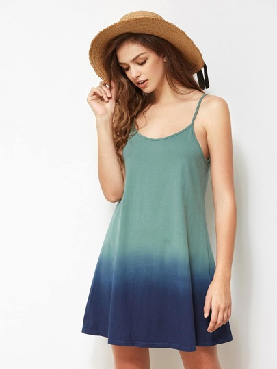Adjustable Strap Detail Ombre Cami Dress