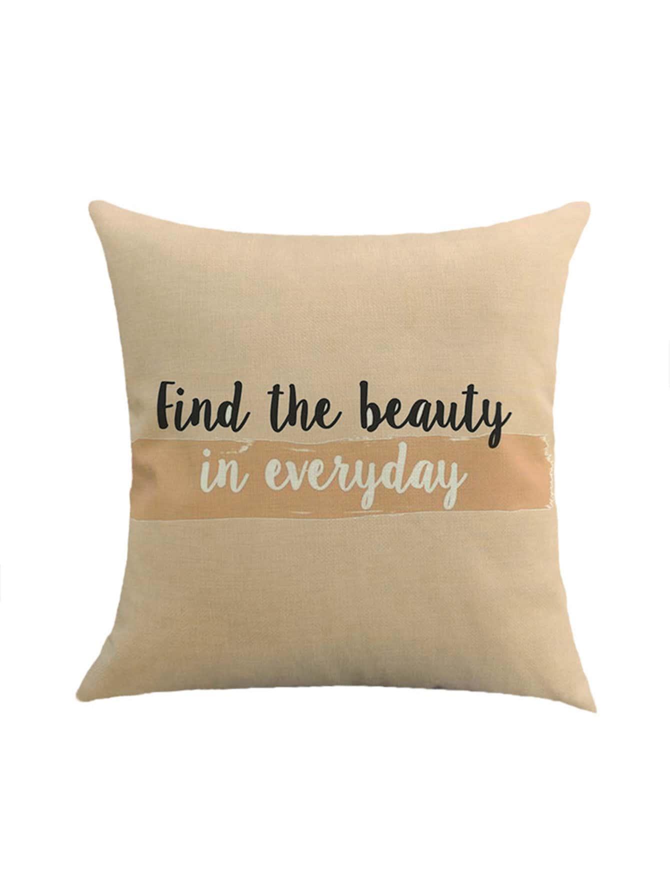 Фото Slogan Print Cushion Cover. Купить с доставкой