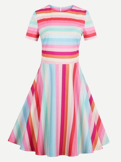 Rainbow Stripe Fit & Flare Dress