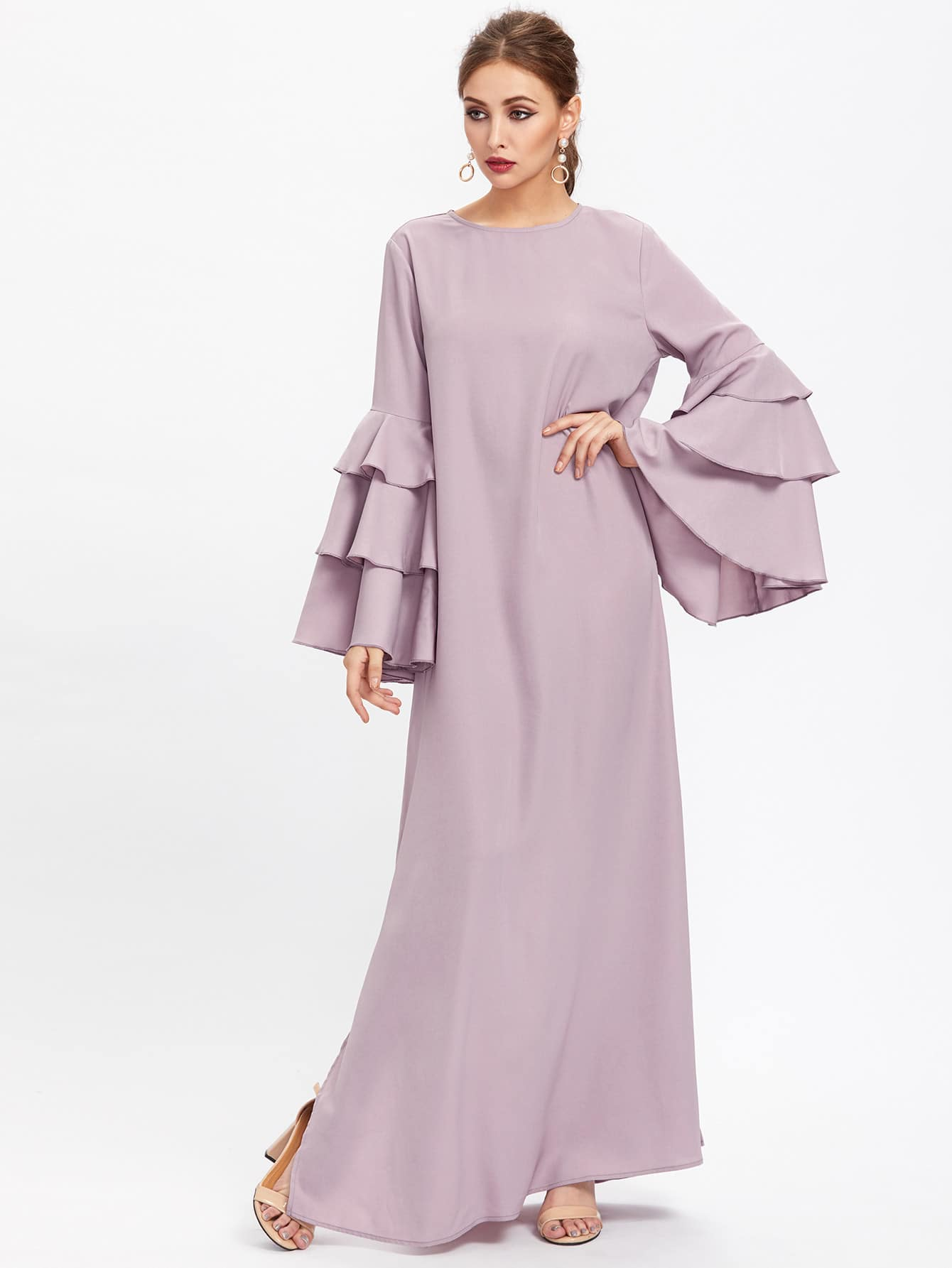 Exaggerate Layered Bell Sleeve Slit Hijab Evening Dress exaggerate bell sleeve buttoned keyhole dress