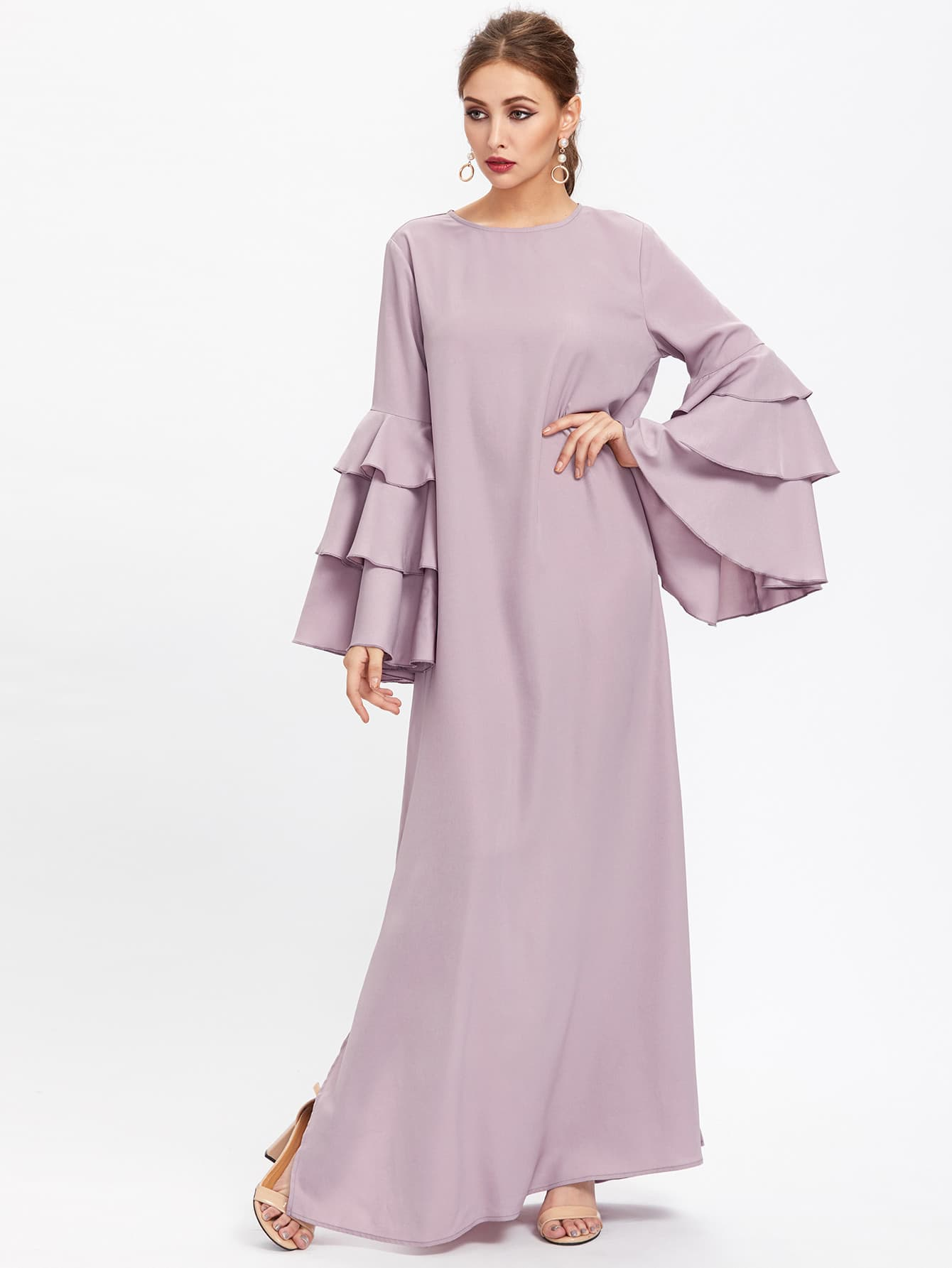 Exaggerate Layered Bell Sleeve Slit Hijab Evening Dress