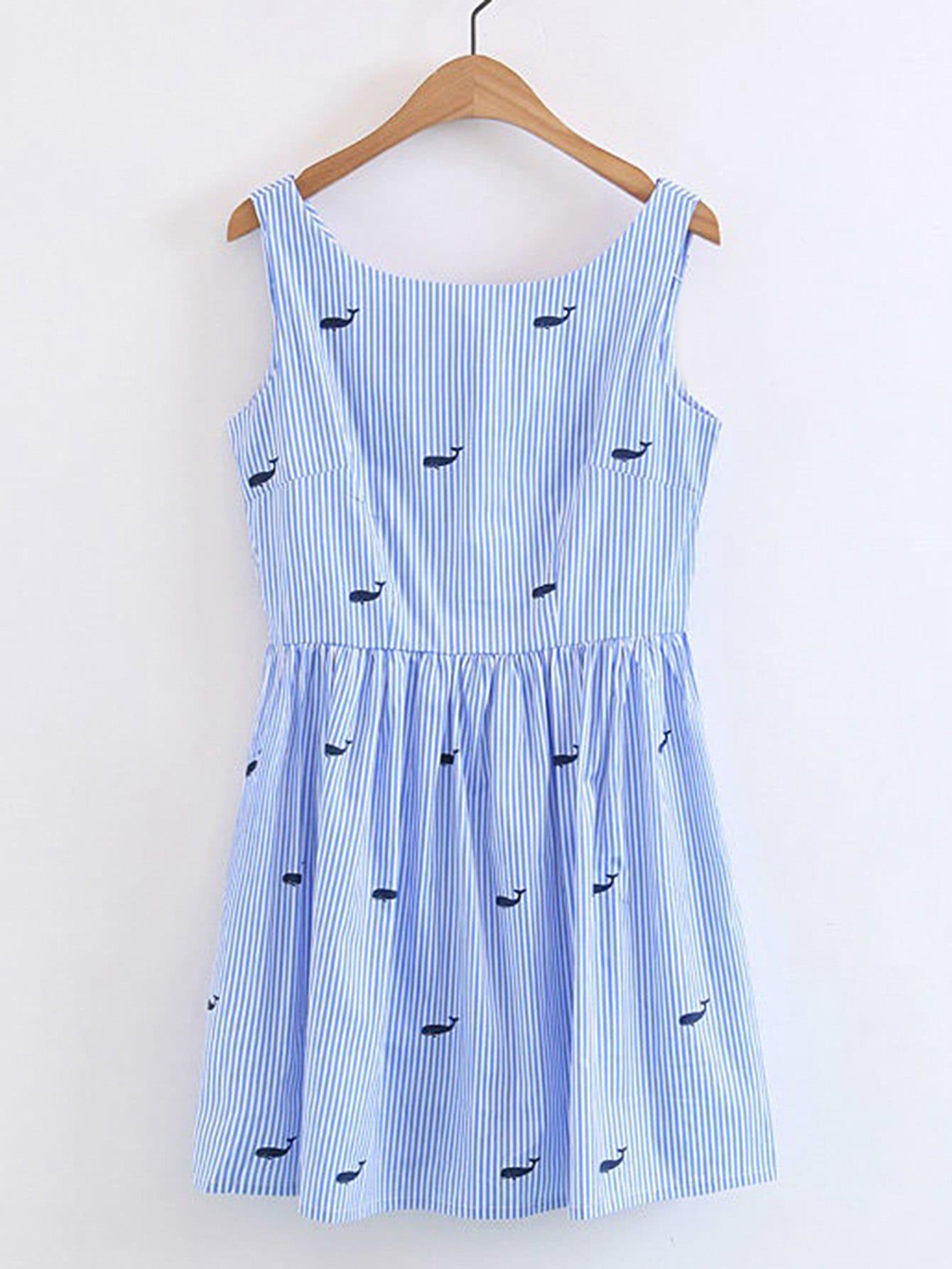 Vertical Striped Sleeveless Dress