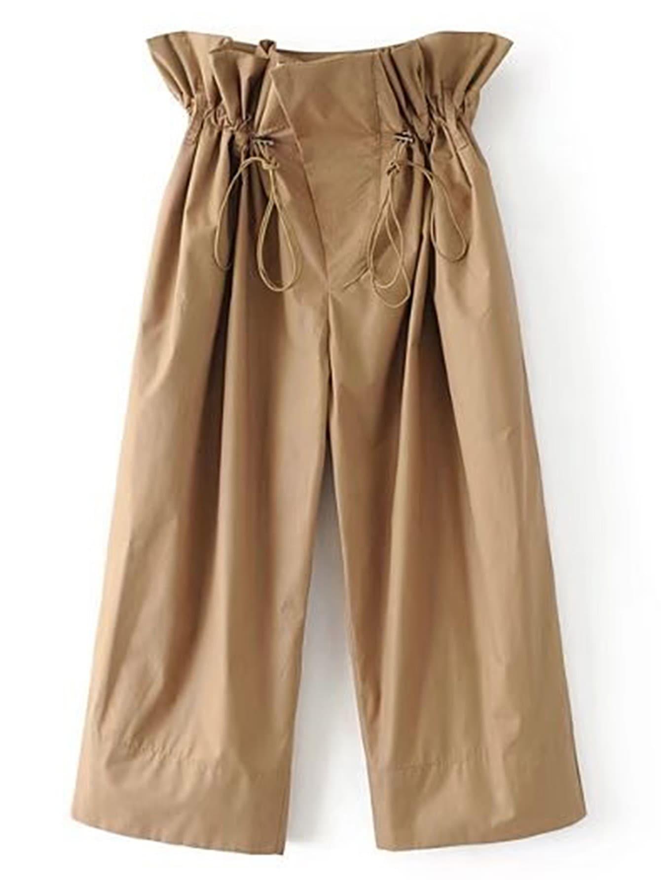 Фото Drawstring Ruffle Waist Culotte Pants. Купить с доставкой