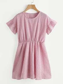Striped Blouson A Line Dress