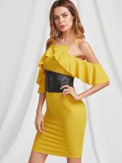 Crossover Frill Cold Shoulder Vented Back Dress