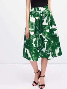 Falda midi plisada con estampado