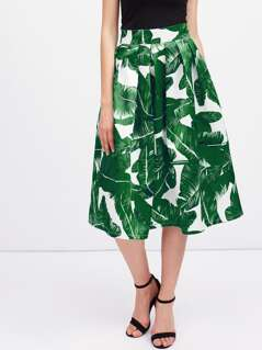 Foliage Print Box Pleated Midi Skirt