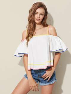 Wave Tape Detail Bell Sleeve Trapeze Top