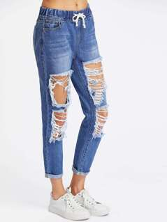 Drawstring Waist Bleach Wash Destroy Jeans