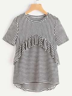 Frill Trim High Low Striped T-shirt