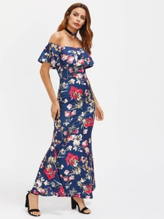 Flounce Off Shoulder High Slit Back Fishtail Dress