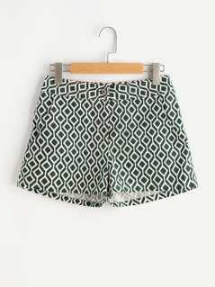 High Waist Ikat Print Shorts