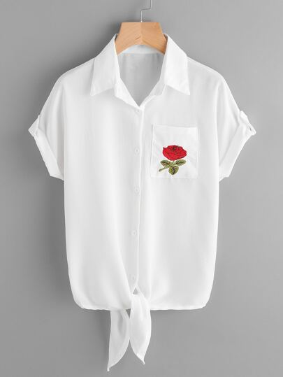 Rose Embroidered Chest Pocket Knot Front Cuffed Shirt