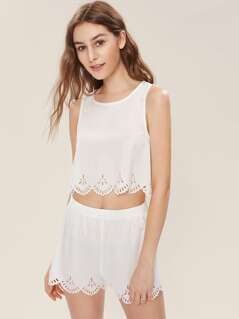 Laser Cut Crop Tank Top And Shorts Set
