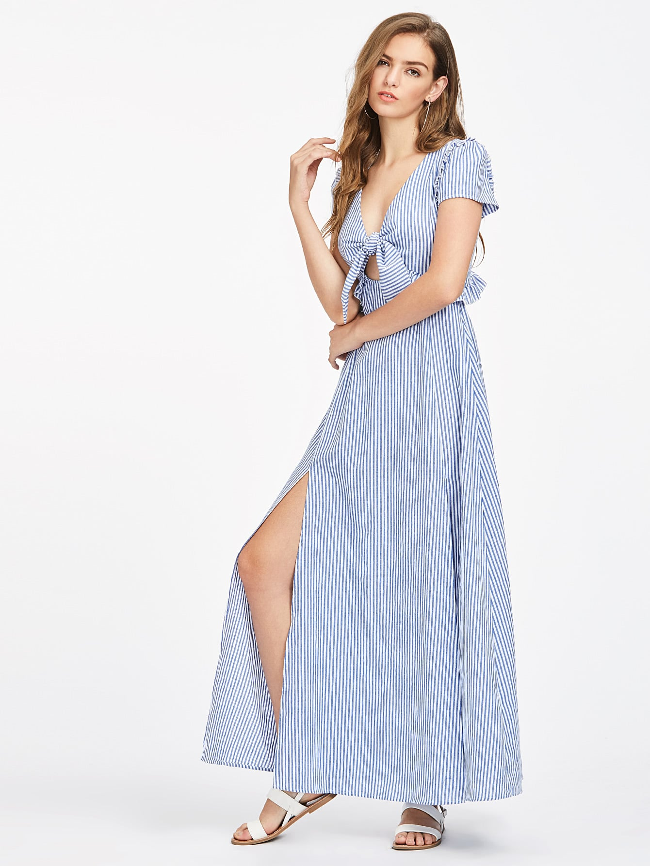Knot Front Frill Detail M-slit Peekaboo Dress