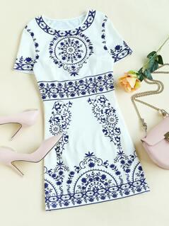 Porcelain Print Princess Seam Dress