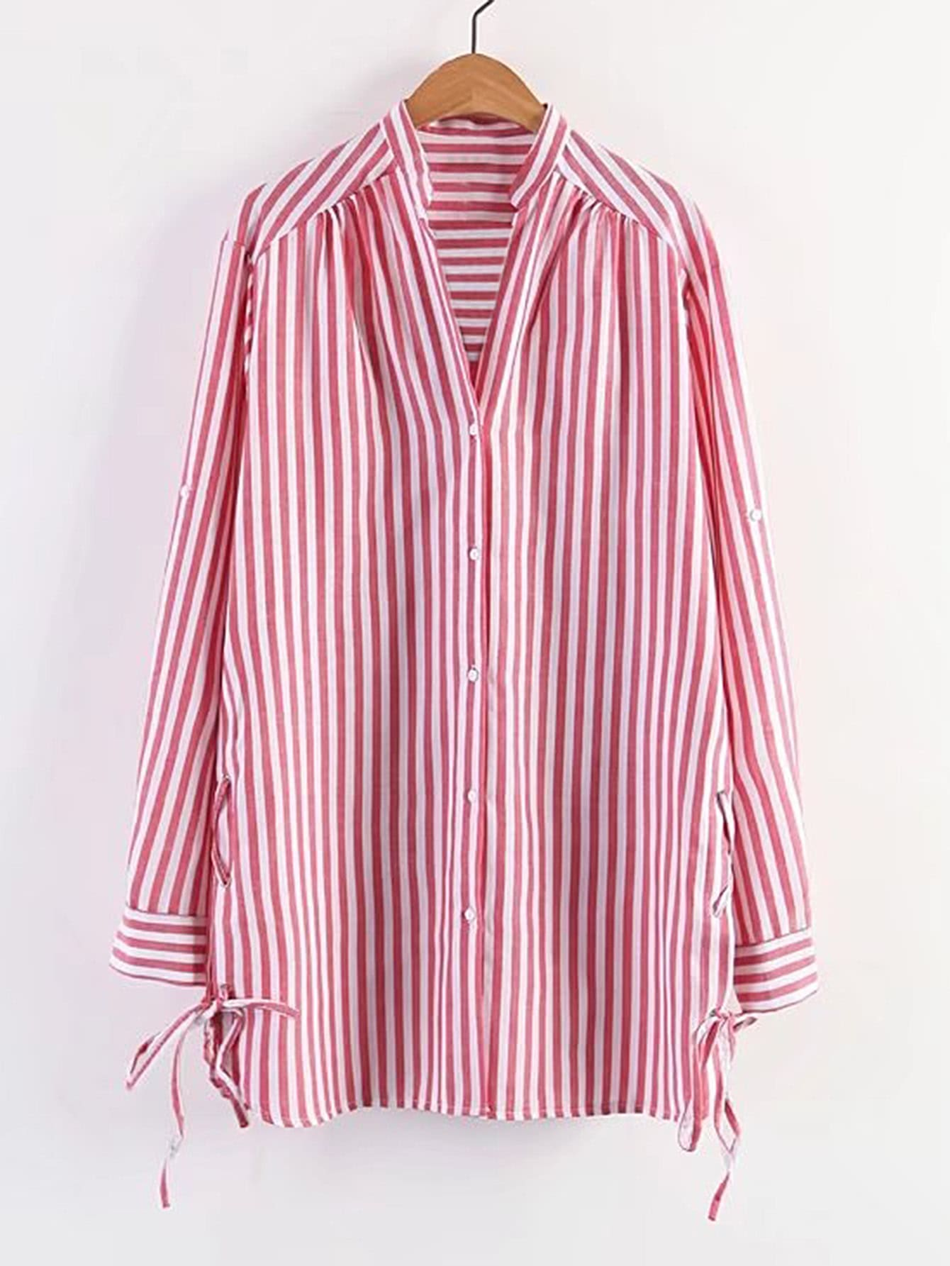 Vertical striped lace up side shirt dress shein sheinside for Vertical striped dress shirt