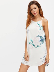 Flower Print Dolphin Hem Racer Cami Dress