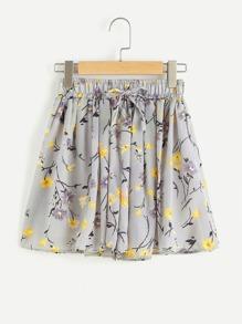 Shorts mit Blumen Muster,Elastizität und Falten um die Taille