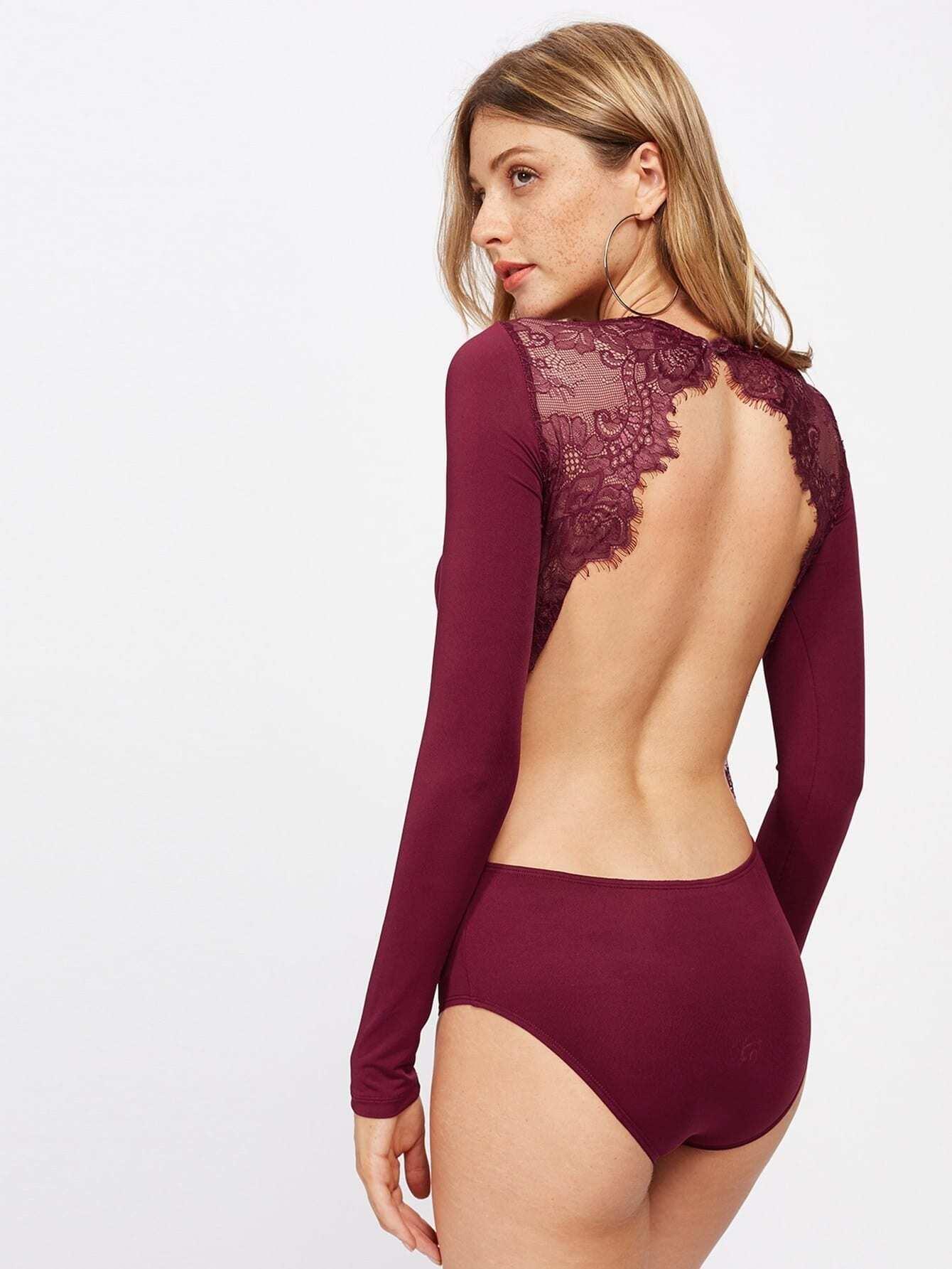 Backless Lace Applique Bodysuit flower applique wrap bodysuit