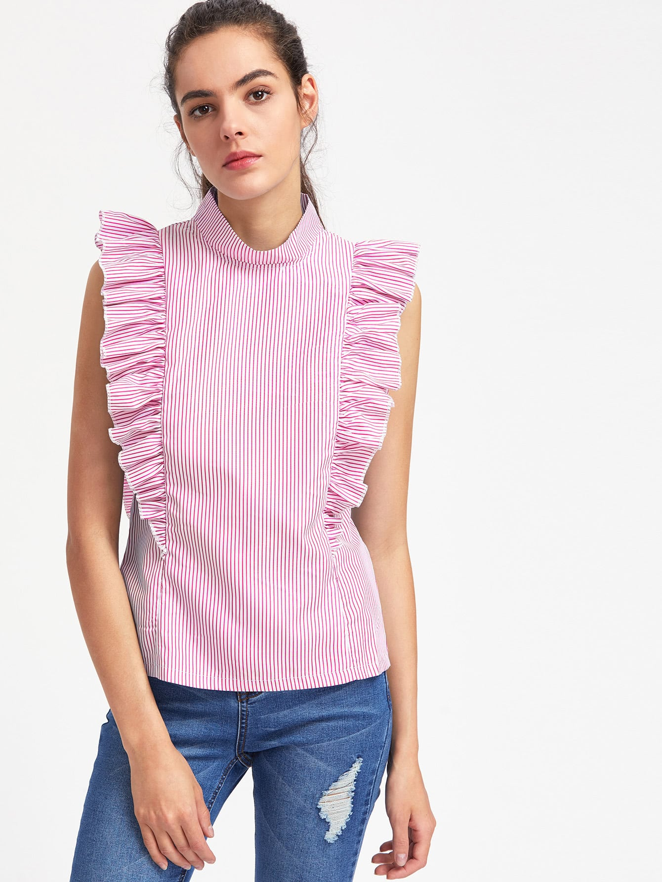 Vertical Striped Exaggerated Frill Trim Top blouse170606102