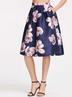 Navy Flower Print Box Pleated Volume Skirt