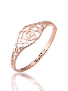 Bracelet creux en métal design de rose
