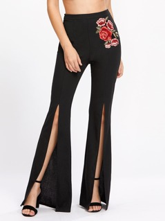 Embroidered Flower Applique Split Front Flare Pants