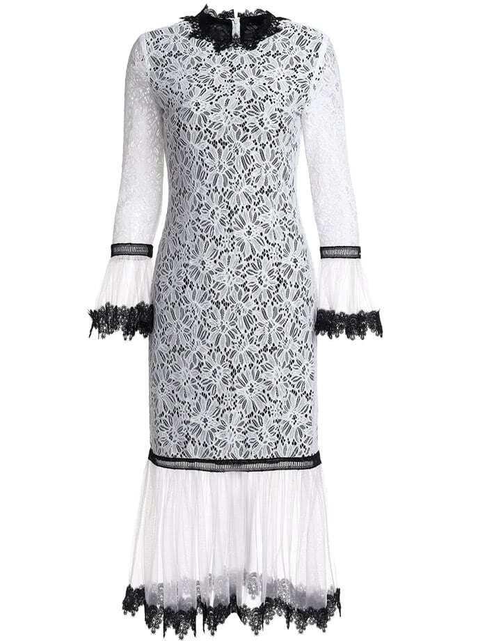 Фото Bell Sleeve Contrast Gauze Sheer Lace Dress. Купить с доставкой