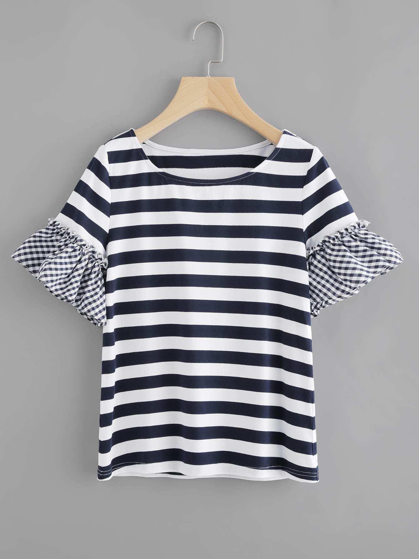 Фото Striped T-shirt With Gingham Ruffle Sleeve. Купить с доставкой