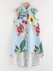 Random Florals Vertical Striped Dip Hem Shirt Dress