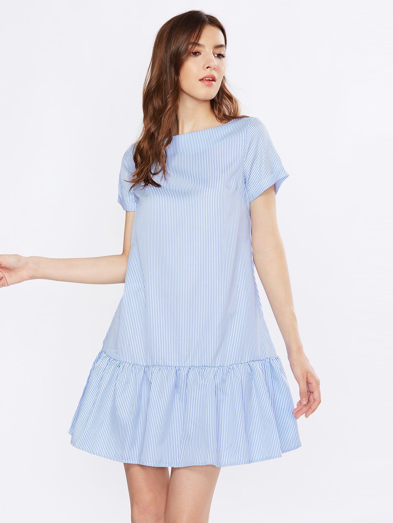 Tiered Hem Pinstripe Dress laminat mostflooring 12208