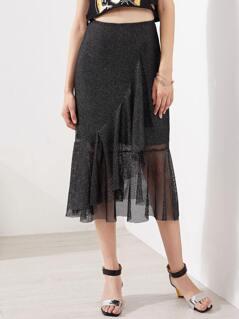 Asymmetric Flounce Trim Metallic Fishnet Skirt