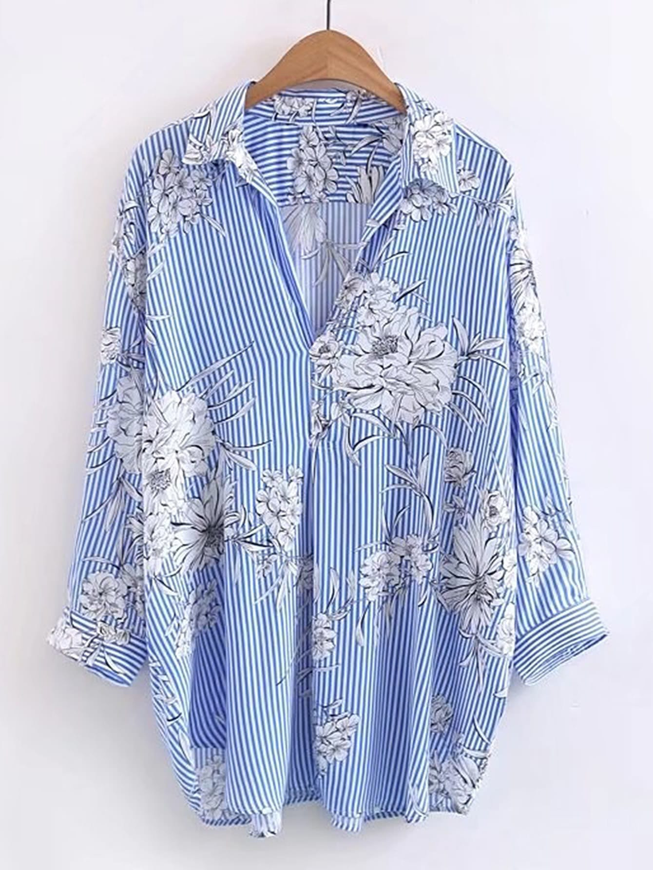 Фото Vertical Striped Floral Print Blouse. Купить с доставкой