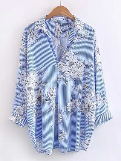 Vertical Striped Floral Print Blouse